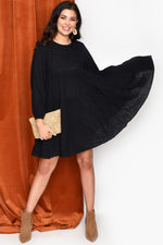 Piper Long Sleeve Frill Dress (Black)