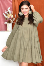 Piper Long Sleeve Frill Dress (Khaki)