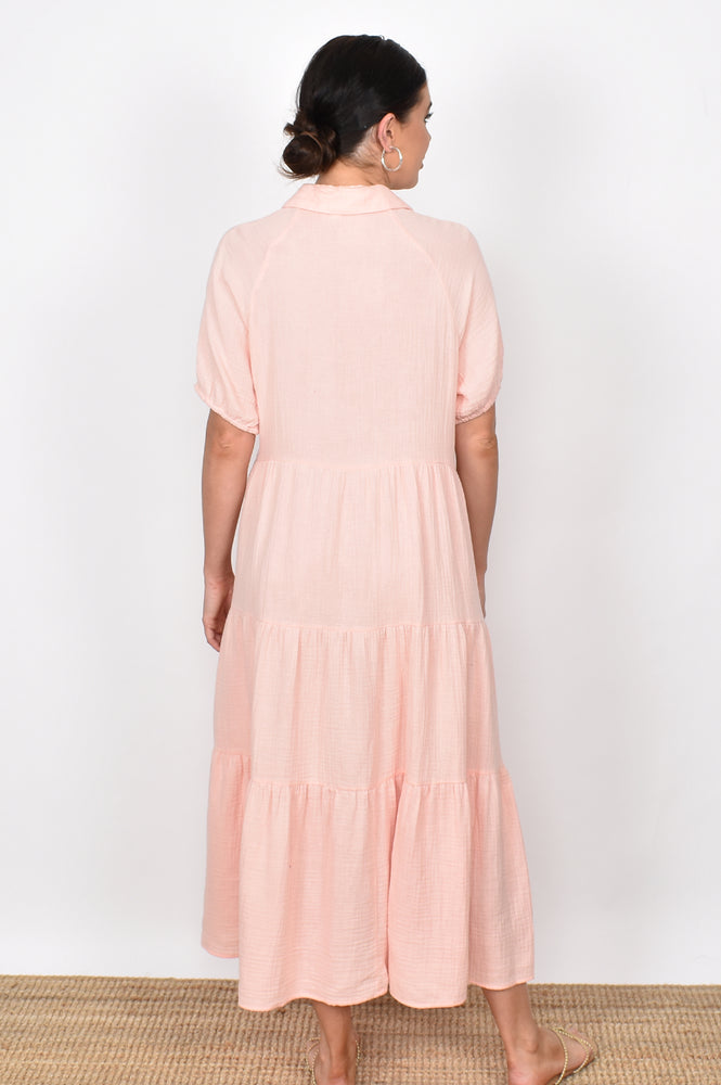 Molly Button Through Dress (Apricot)