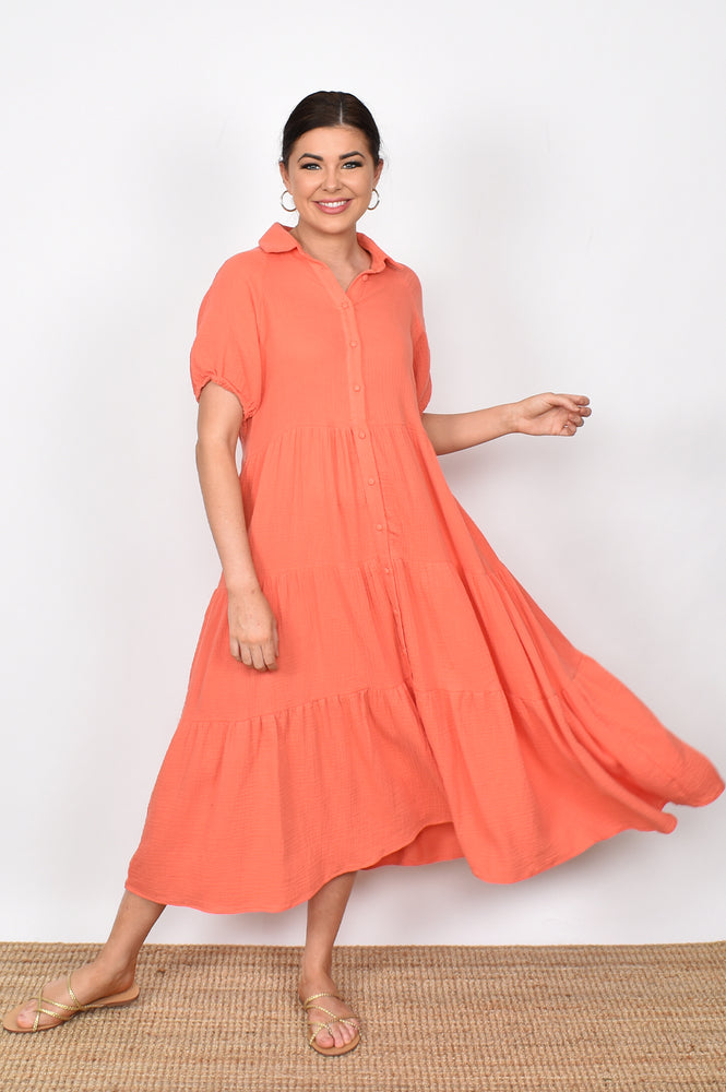 Molly Button Through Dress (Coral)