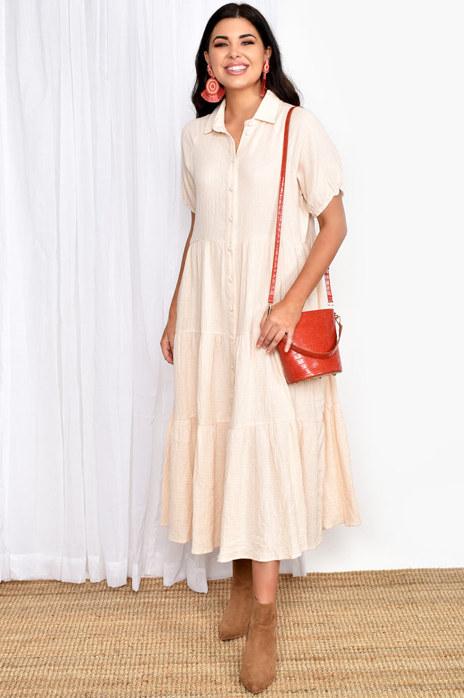 Molly Button Through Dress (Cream)