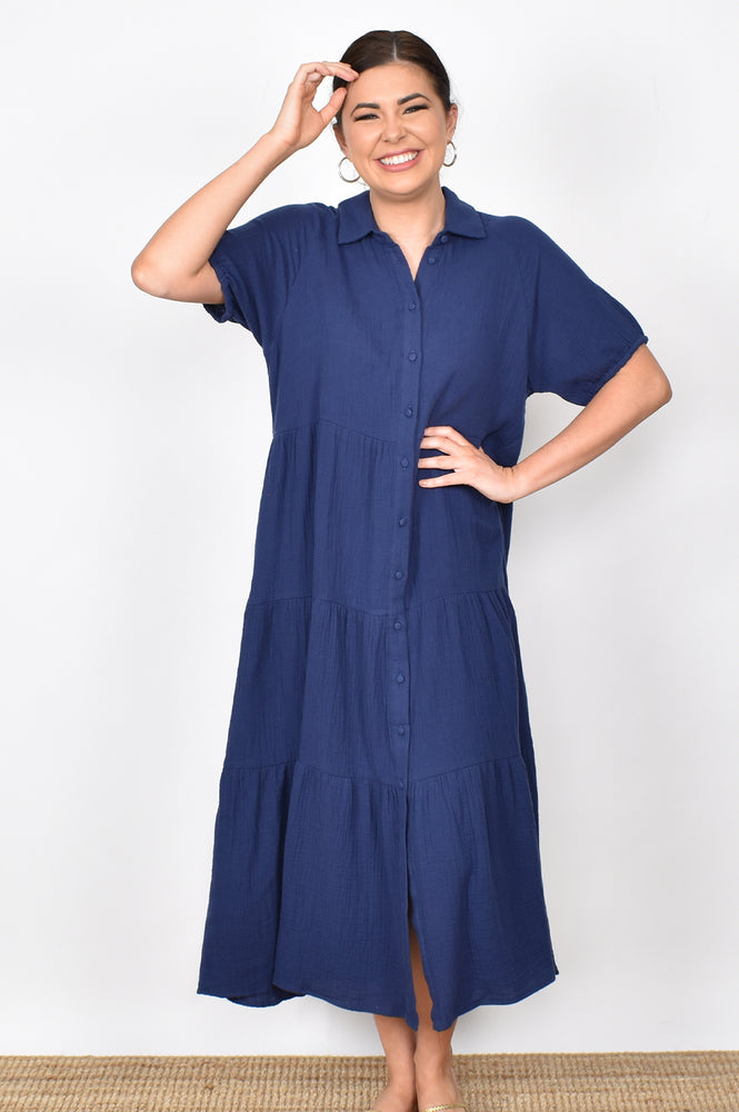 Molly Button Through Dress (Navy)