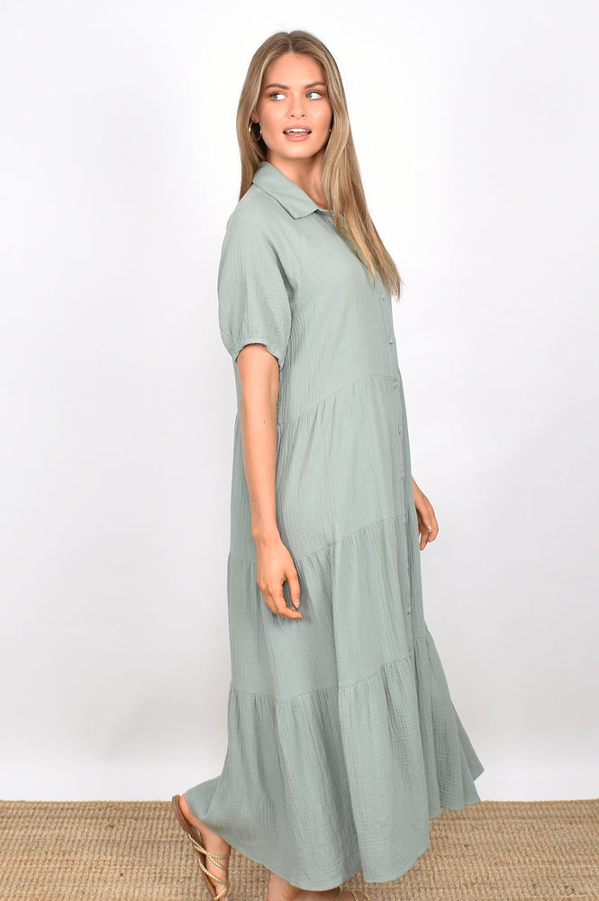 Molly Button Through Dress (Sage)