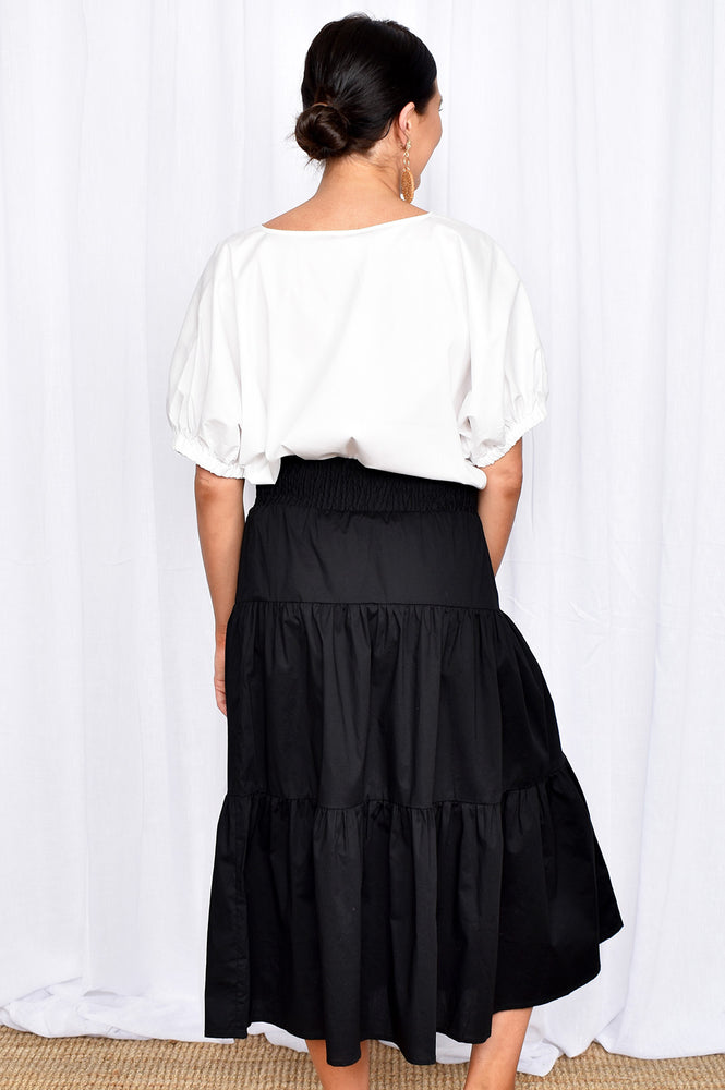 Mia 3 Tiered Shirred Waist Skirt (Black)