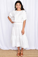 Mia 3 Tiered Shirred Waist Skirt (White)