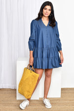 Emma Denim Drop Waist Dress (Denim)