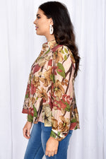Eliza Floral Button Through Tiered Shirt (Pink)