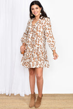 Emma Floral Drop Waist Dress (Tan/White)