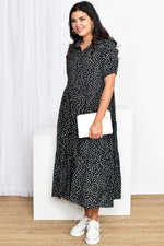 Molly Button Through Spot Dress (Black/White)