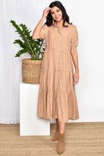Molly Button Through Spot Dress (Nude/White)