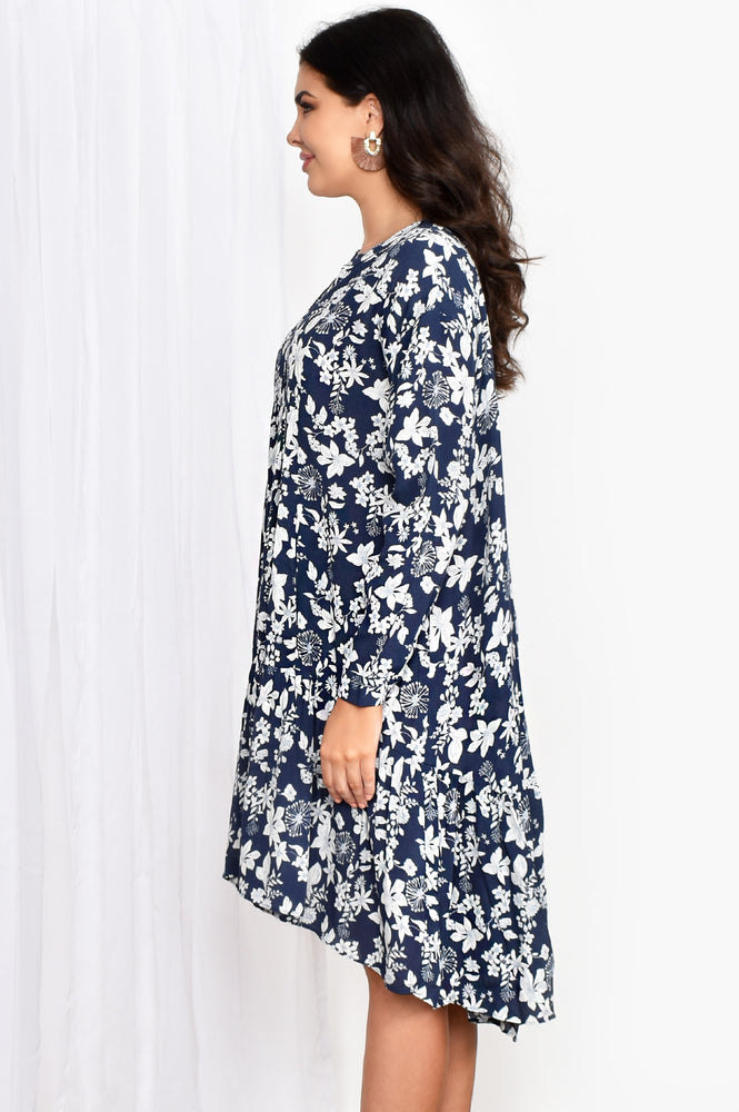 Chelsea Floral Tiered Dress (Navy)