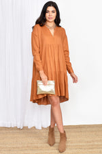 Chelsea Linen Blend Tiered Dress (Tan)