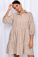 Monica Button Through Tiered Dress (Mocha)