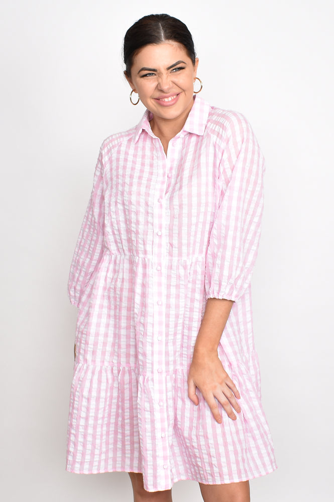 Monica Button Check Tiered Dress (Pink)