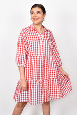 Monica Button Check Tiered Dress (Red)