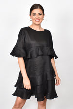Lozzy Frill Linen Dress (Black)