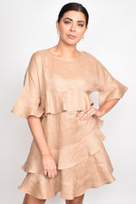 Lozzy Frill Linen Dress (Natural)