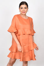Lozzy Frill Linen Dress (Orange)