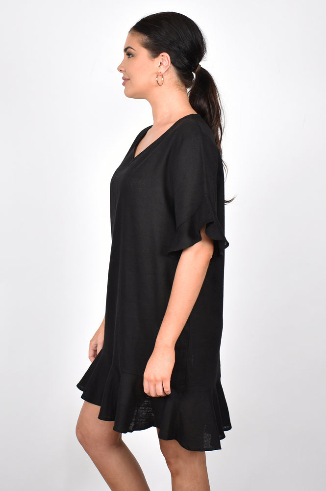 Francesca Ruffle V Neck Dress (Black)