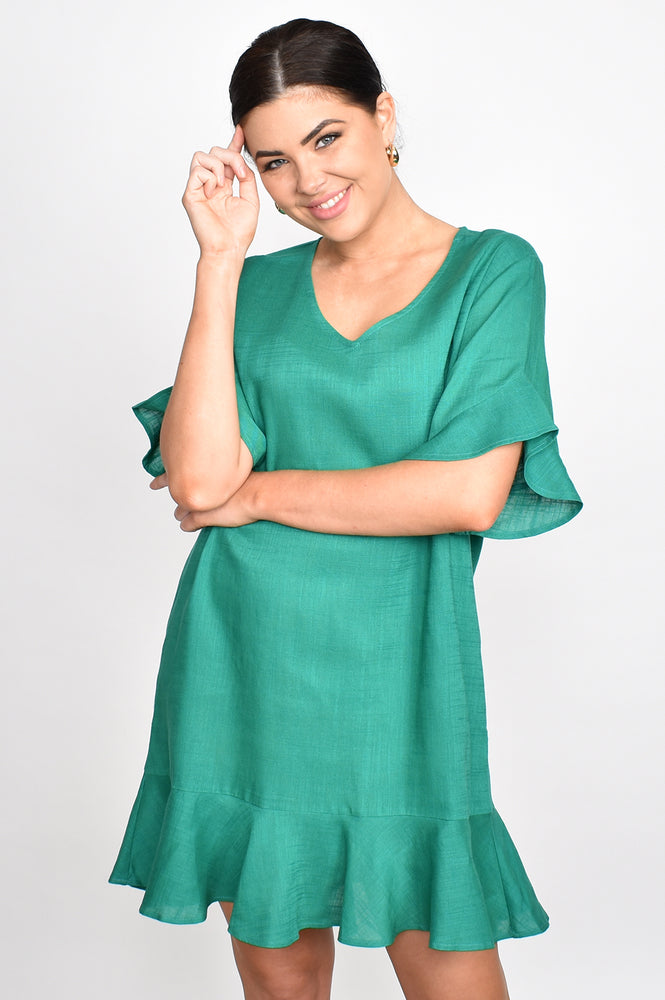 Francesca Ruffle V Neck Dress (Green)