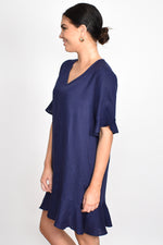 Francesca Ruffle V Neck Dress (Navy)