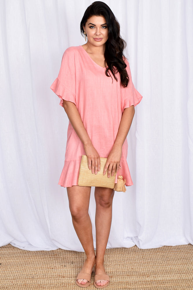 Francesca Ruffle V Neck Dress (Pink)