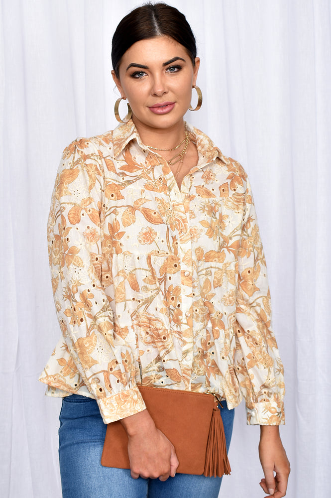 Eliza Embroidered Button Through Tiered Shirt (Camel)