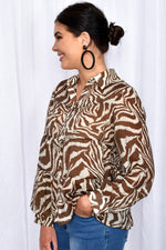 Eliza Zebra Button Through Tiered Shirt (Chocolate)
