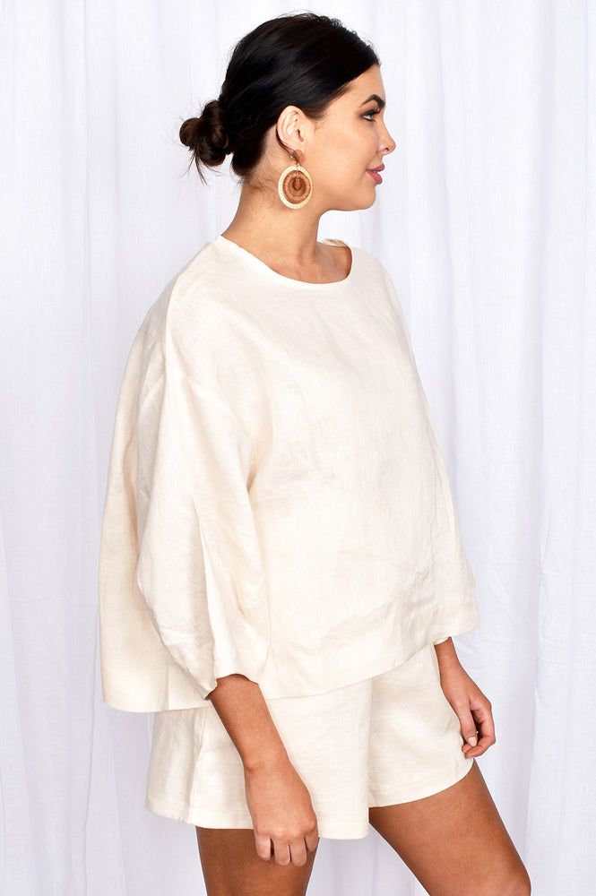 Heidi Oversized Linen Top (Nude)