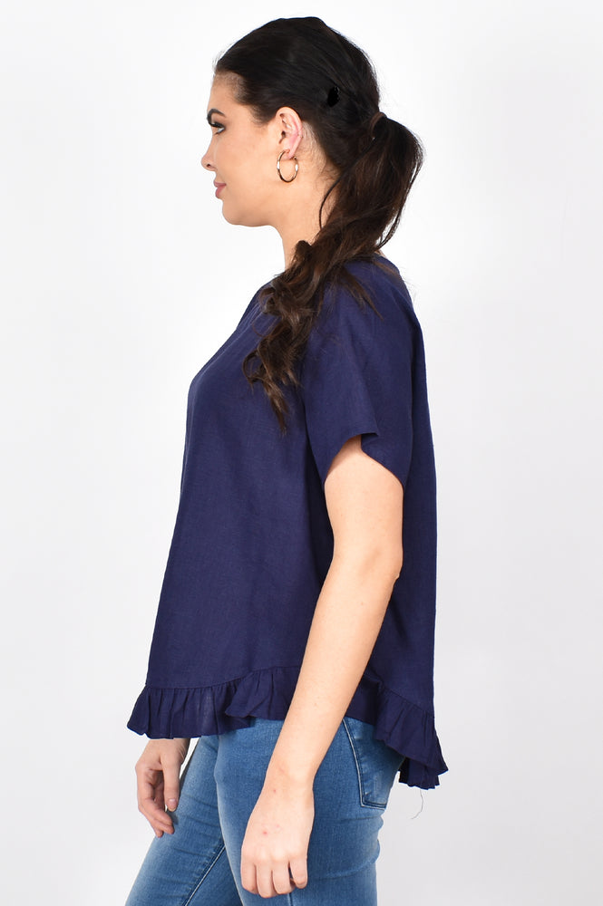 Josie Ruffle Top (Navy)