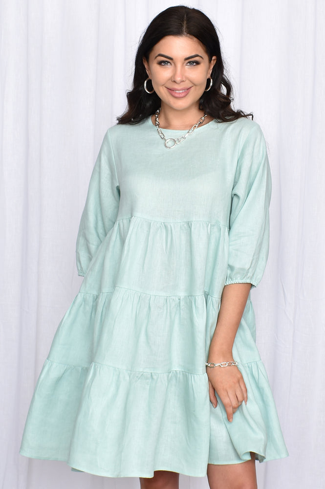 Piper 3/4 Sleeve Linen Frill Dress (Mint)