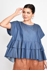 Ava Denim Ruffle Top (Denim)
