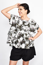 Ava Print Ruffle Top (Black/White)