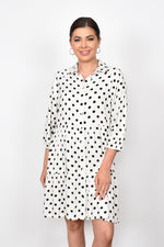 Monica Button Spot Tiered Dress (White)