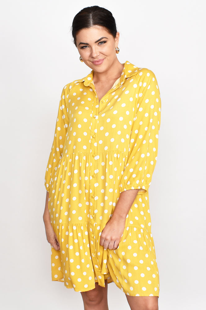 Monica Button Spot Tiered Dress (Yellow)