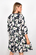 Angie 3/4 Sleeve Tiered Dress (Navy Floral)