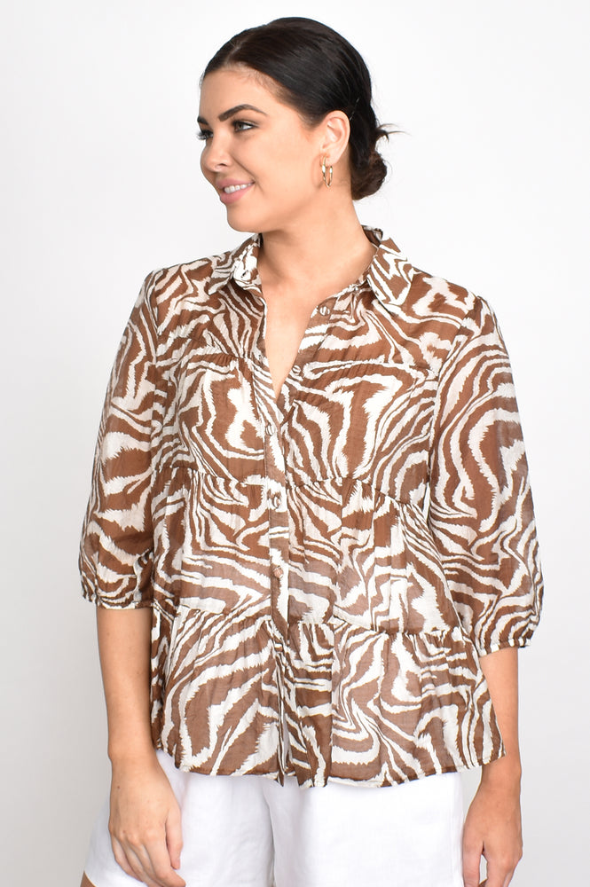 Eliza 3/4 Sleeve Button Tiered Shirt (Chocolate)