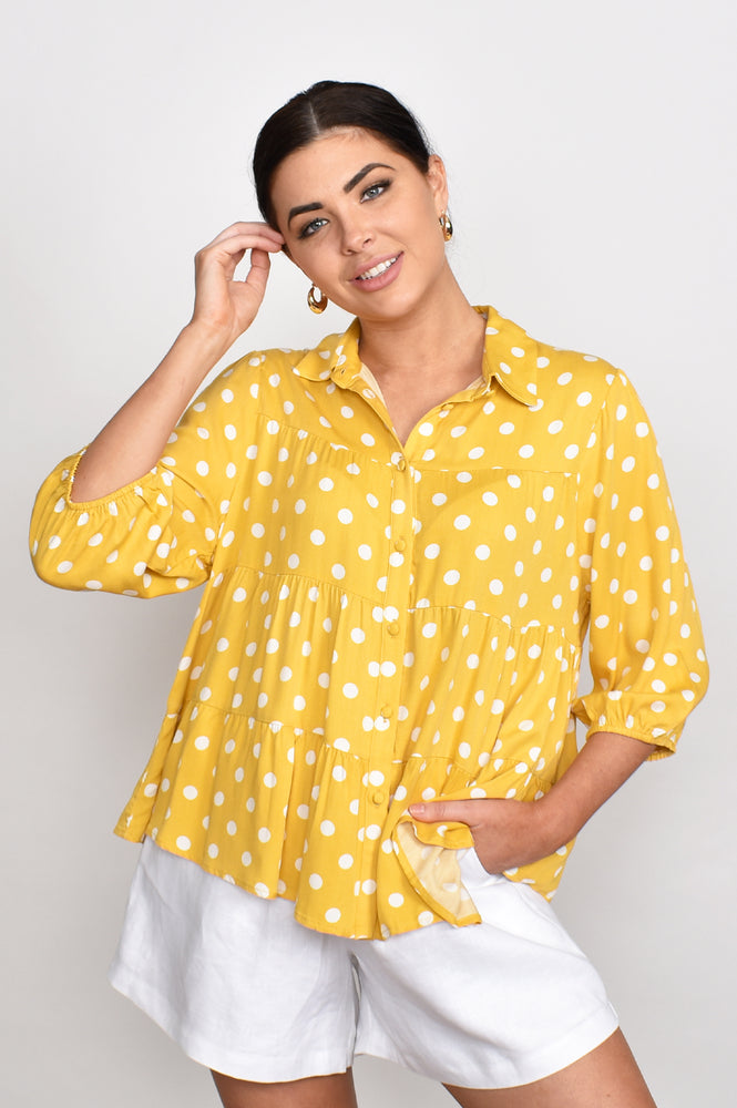 Eliza 3/4 Sleeve Spot Button Tiered Shirt (Yellow)