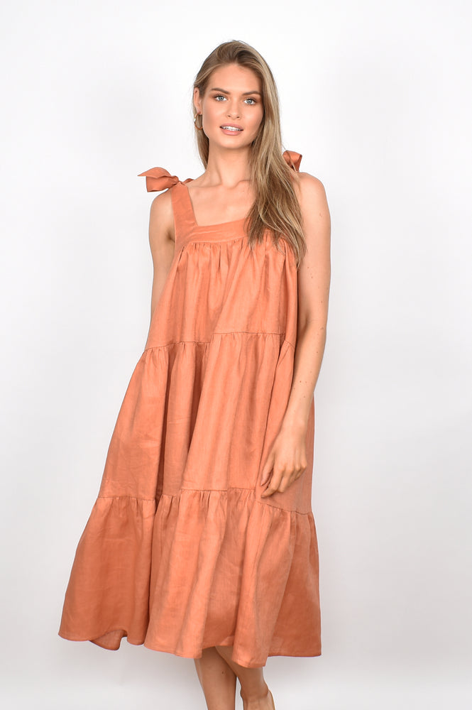 Poppy Linen Frill Dress (Terracotta)