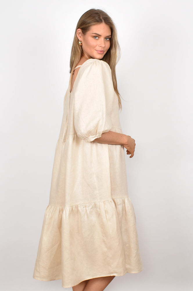 Gabby Luxe Linen Tiered Dress (Cream)