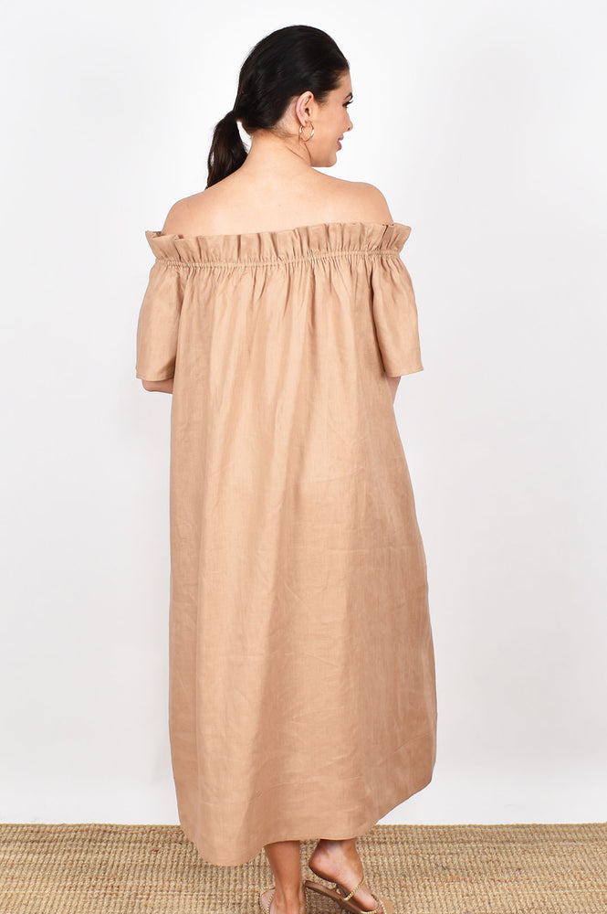 Maddie Off Shoulder Maxi Dress (Natural)