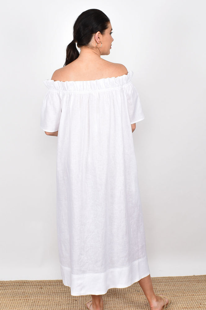 Maddie Off Shoulder Maxi Dress (White)