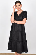 Gracie Layered Linen Midi Dress (Black)