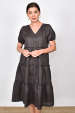 Gracie Layered Linen Midi Dress (Charcoal)