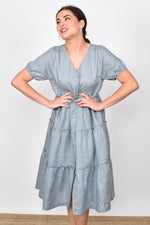 Gracie Layered Linen Midi Dress (Steel Grey)