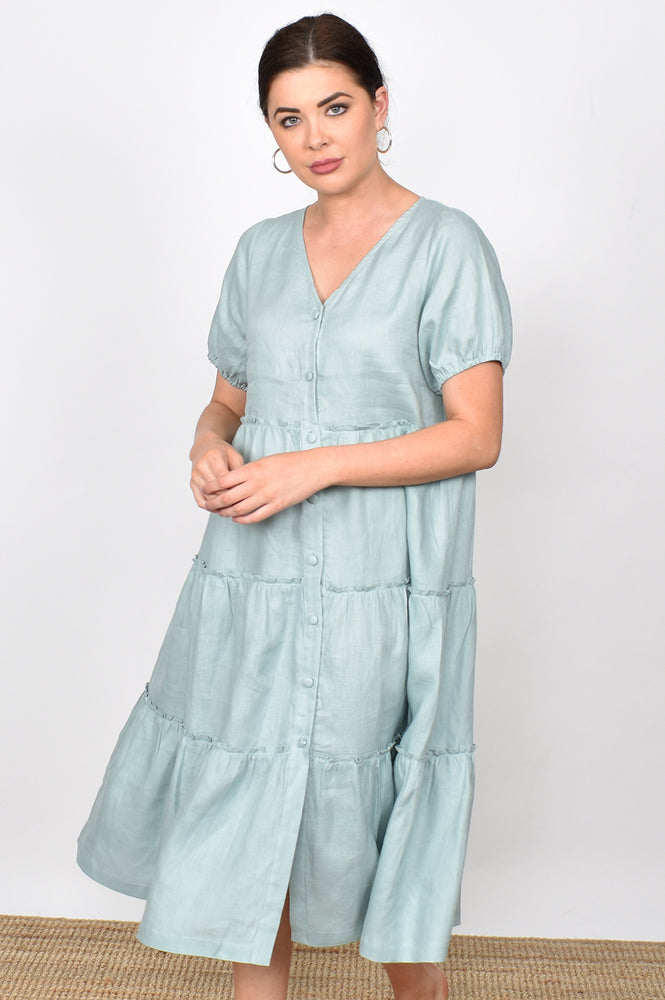 Gracie Layered Linen Midi Dress (Sage)