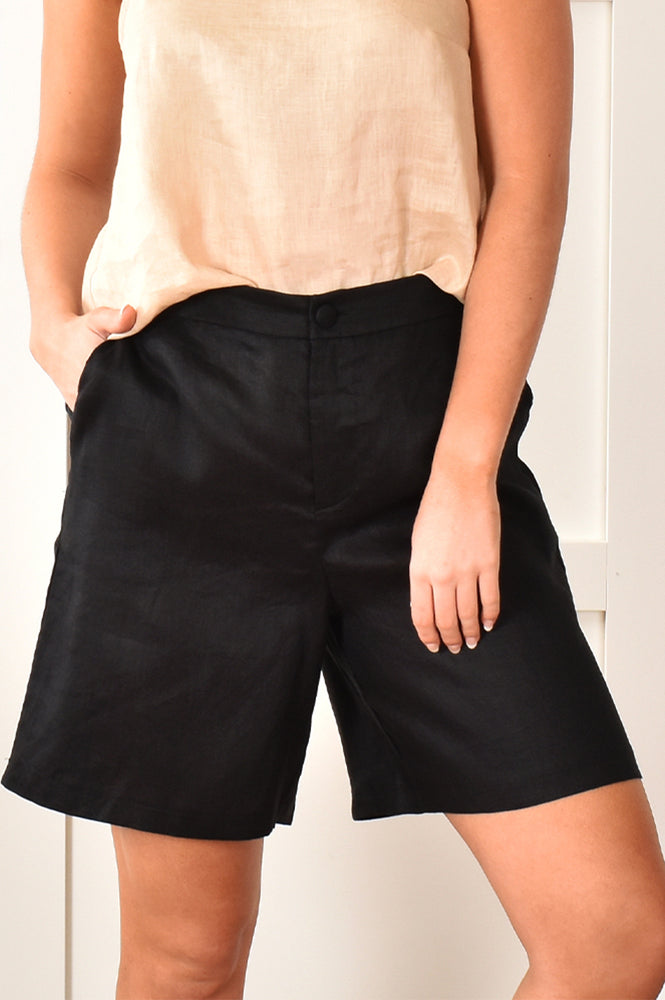 Keira Linen Shorts (Black)