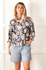 Keira Linen Shorts (Steel Grey)