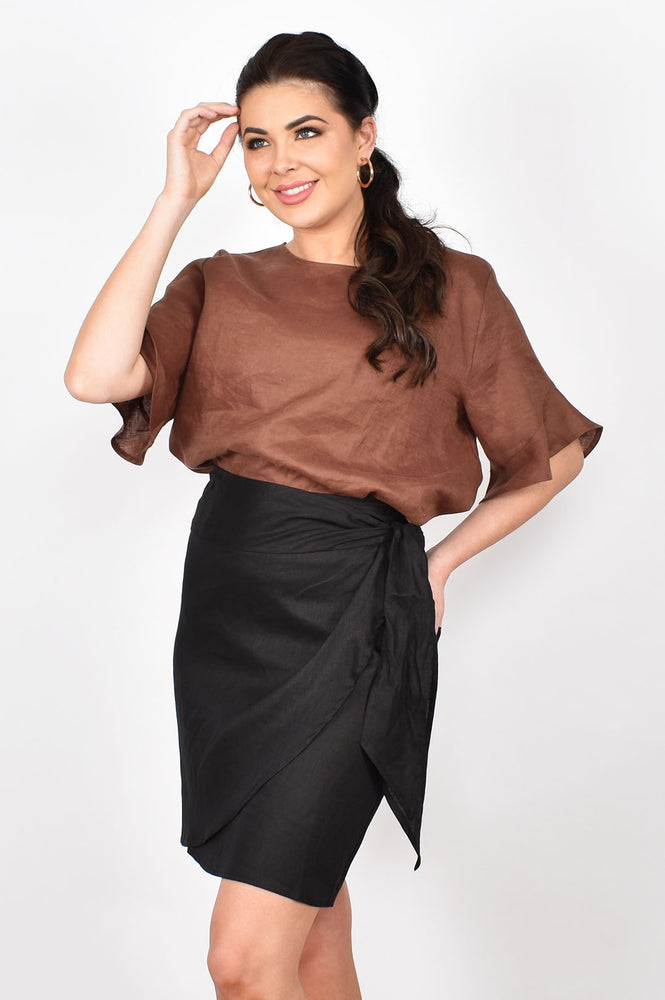 Tahlia Luxe Linen Wrap Skirt (Black)