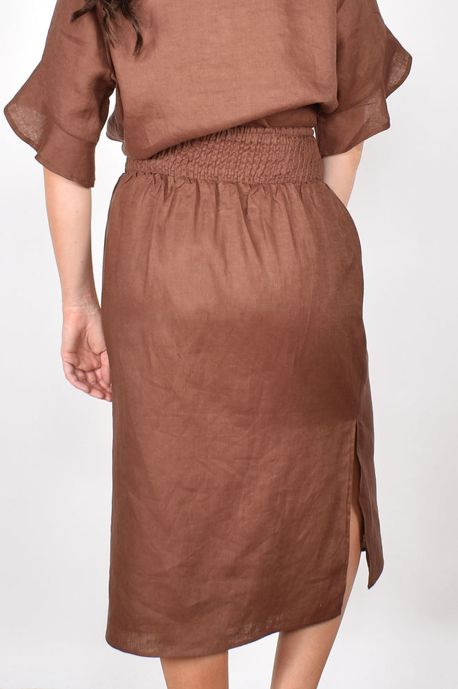 Tammy Luxe Linen Shirred Waist Skirt (Chocolate)